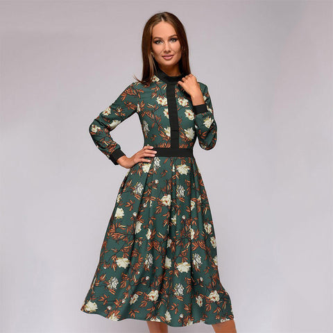 Floral patchwork mock neck midi dresses