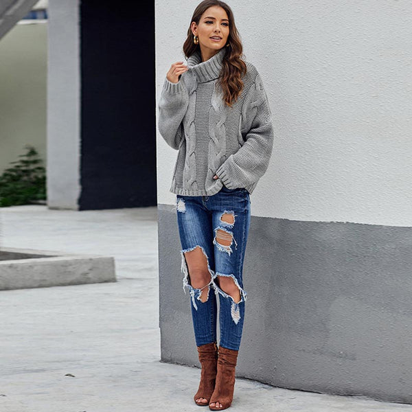 Turtleneck loose cable-knit sweaters
