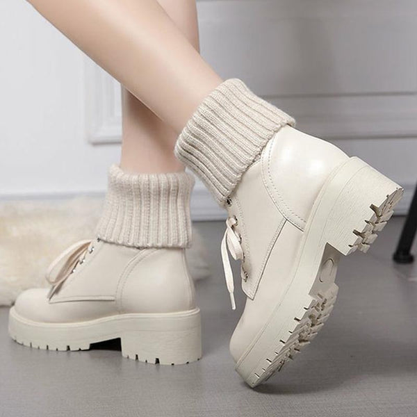 Patchwork knitted PU leather ankle boots