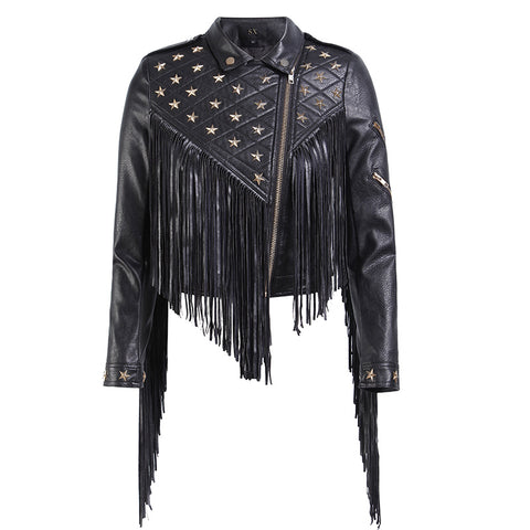 Rivet tassel punk faux leather jackets - Fancyever