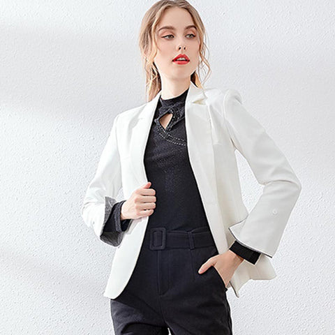 Slim ruffle double breasted short blazer jackets