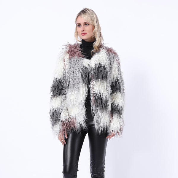 Color-blocked plush faux fur coats