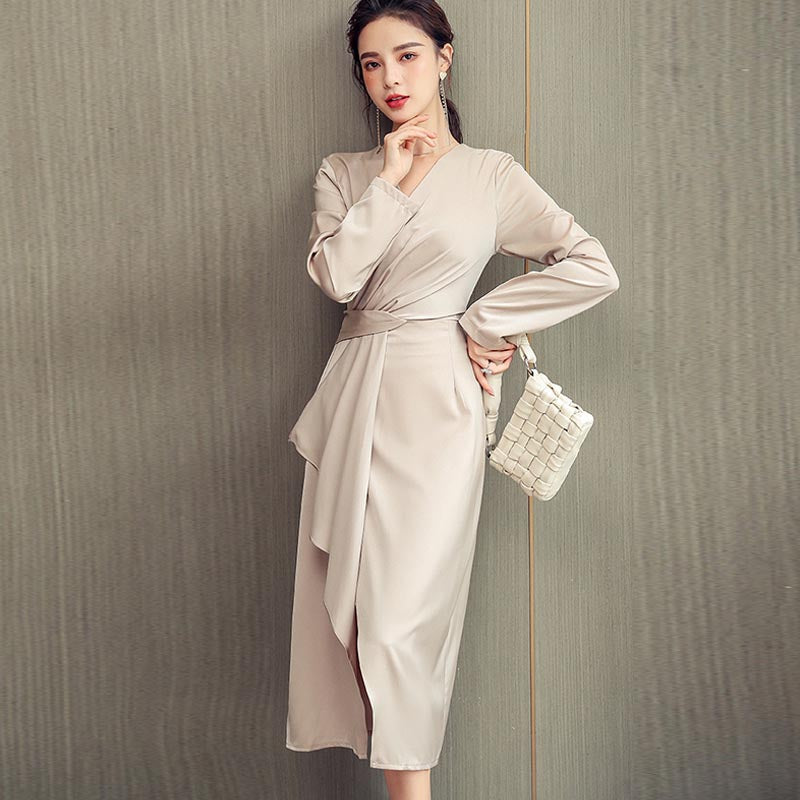 Long sleeve belted ruched irregular dresses