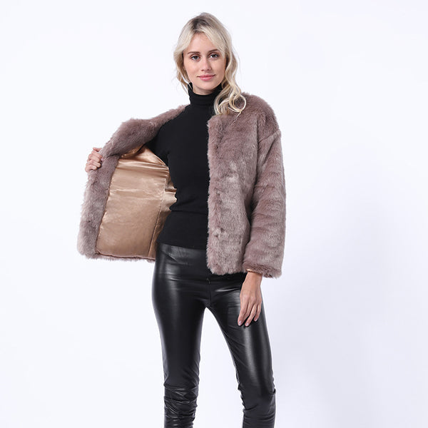 Winter fluffy rex rabbit faux fur coats