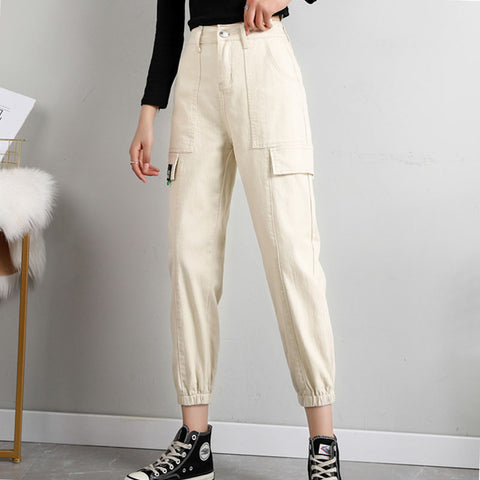 Plus size ankle-tied cargo pants