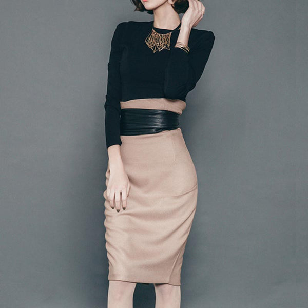 Crew neck long sleeve skirt suits