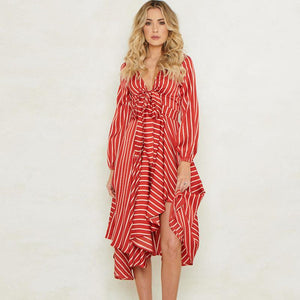 Striped v-neck tied high-low dresses