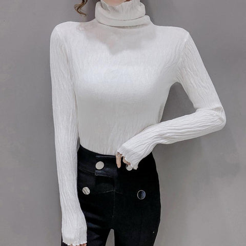 Cowl neck solid smocked shirred knit tops