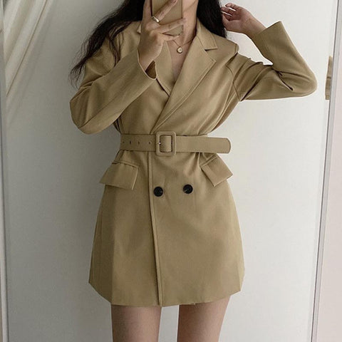 Double breasted belted solid coats