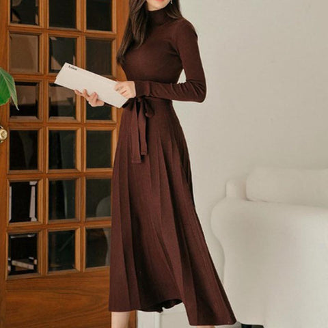 Big hem turtleneck solid knitted maxi bodycon dresses