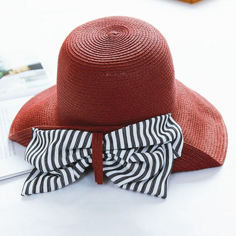 Striped bowknot foldable straw hats