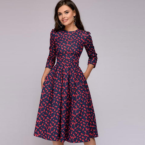 Retro floral dresses with pockets - Fancyever