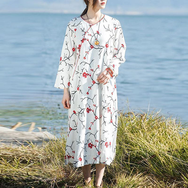 White embroidered midi linen dresses