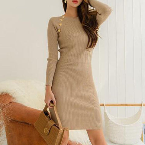 Crew neck pullover solid knitted bodycon dresses