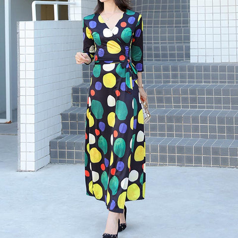 V neck self belt printed dot fitted maxi dresses