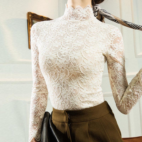 Turtleneck openwork lace slim knit tops