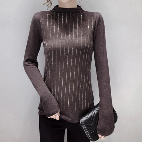 Half-collar striped slim knit tops