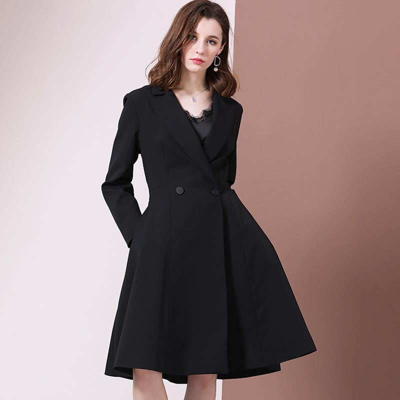 Double-breasted notch collar slim coats
