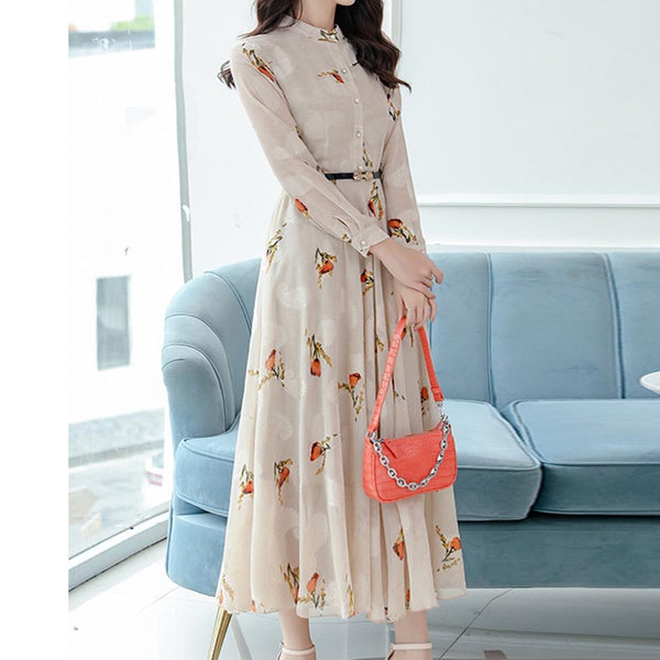 Chiffon floral gathered waist draped maxi dresses