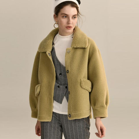 Single-breasted lapel fleece coats