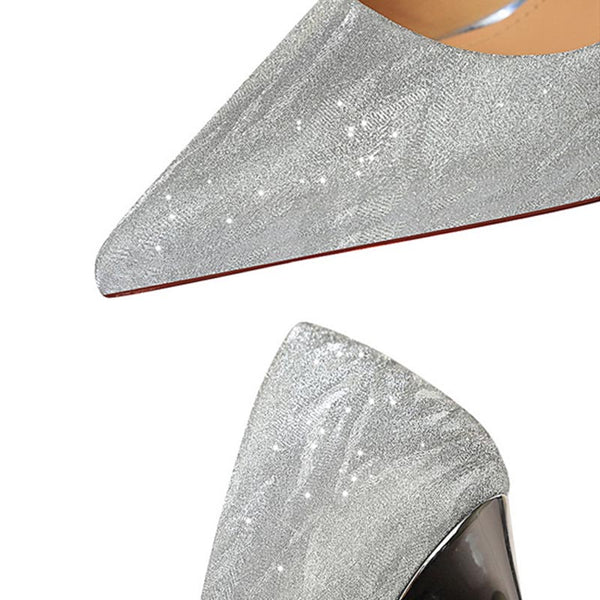 Pointed toe sparkly heels