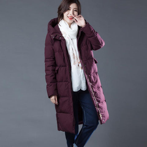 Plus size hooded  down coats