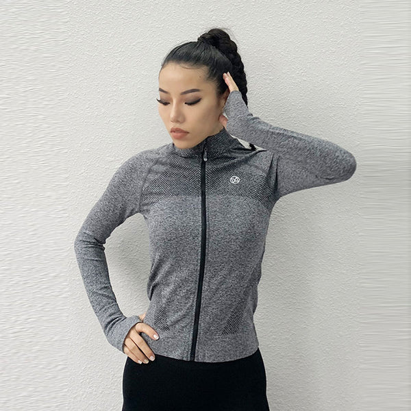 Zip-up fitness active running active tops with thumb holes