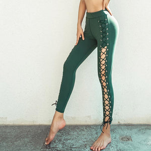 High waisted openwork tied active pants