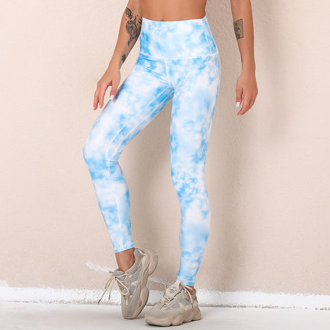 High waisted tie dye slim yoga pants