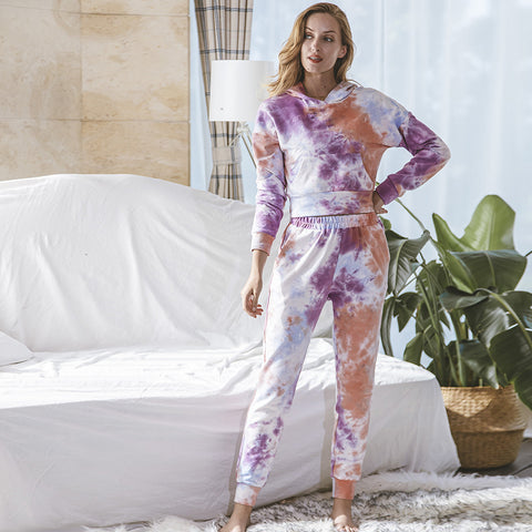 Hooded tie-dye loose thick pant suits