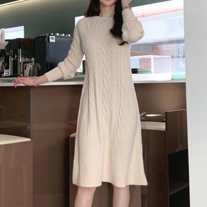 Brief stylish solid knitted skater dresses