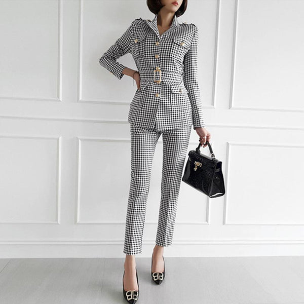 Houndstooth turn-down collar pant suits