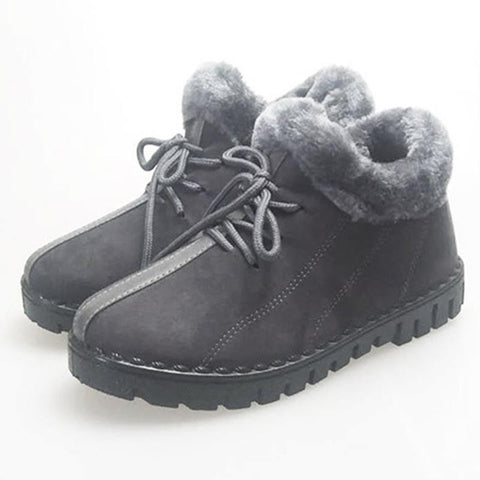 Lace-up solid non-slip fur boots