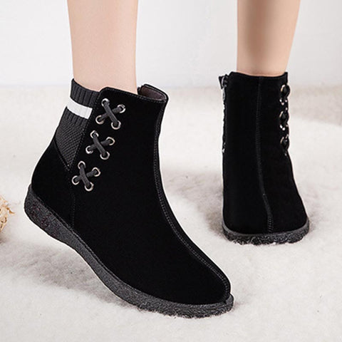 Rounded solid zipper thick ankle boots