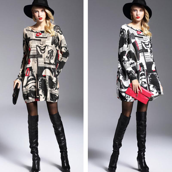 Print loose pullover sweaters