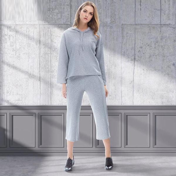 Hooded solid color pant suits