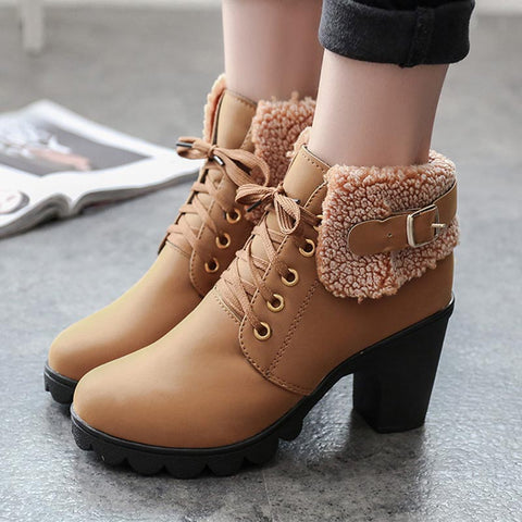 Pin-buckle lace-up sude fur blocked heel boots