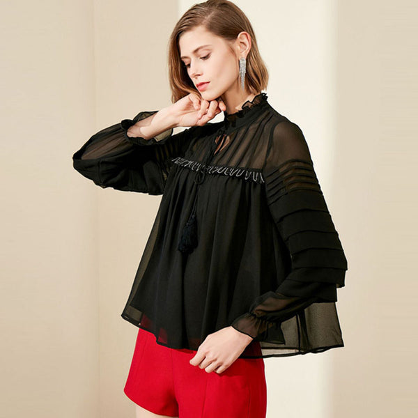 Mock neck loose patchwork blouses