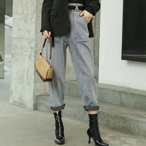 Casual belted cropped straight denim pants
