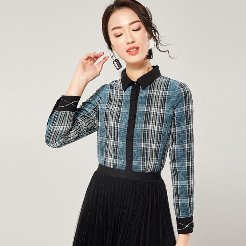 Lapel plaid button-front blouses