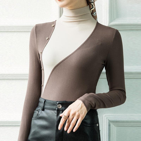 Color block turtleneck knit tops
