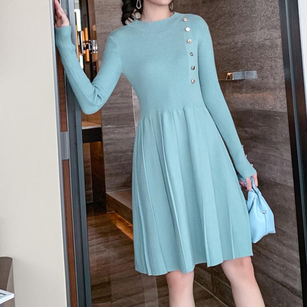 Crew neck knitted dresses with buttons