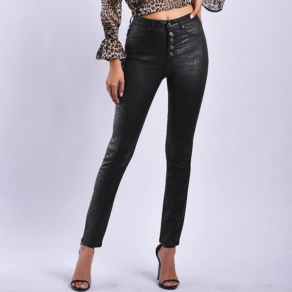 High waisted leopard skinny pants