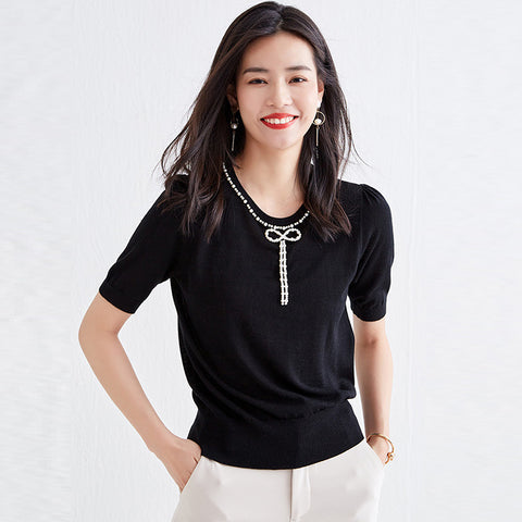 Thin pearled thin short sleeve knit tops