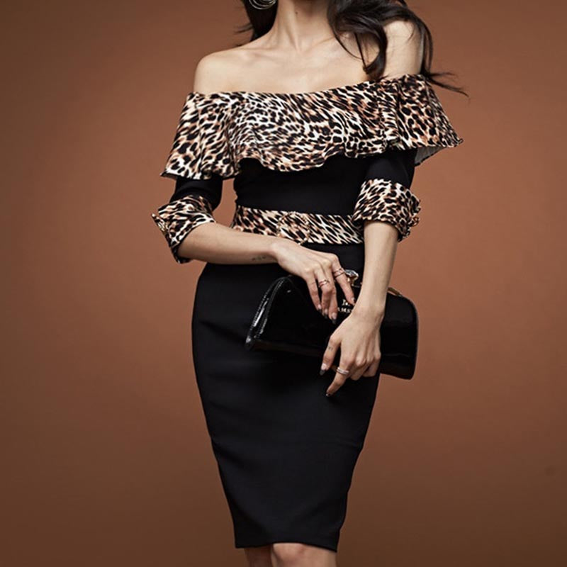 Leopard patchwork ruffled bodycon dresses