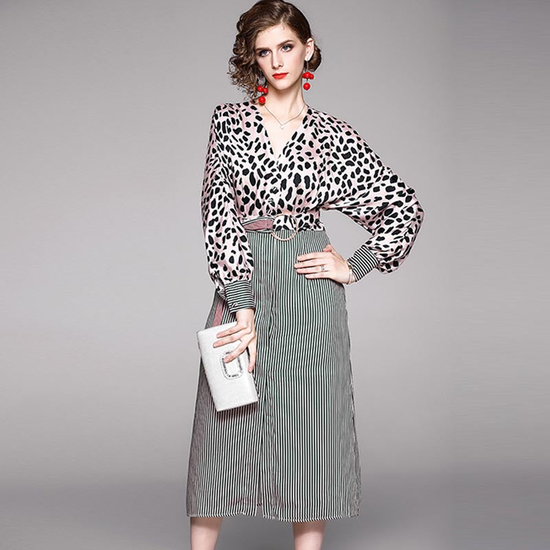 Leopard patchwork gathered waist midi dresses