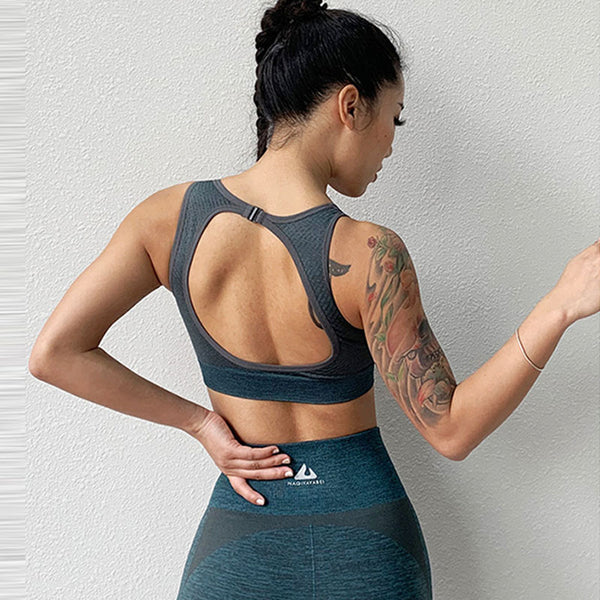 Seamless cut out back fitness gym tank sports bras