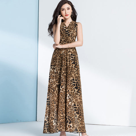 Leopard print wrap gathered waist maix dresses