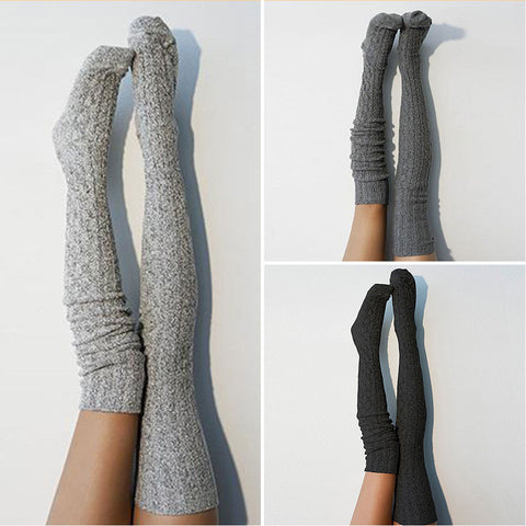 3 pairs thigh high knit stockings