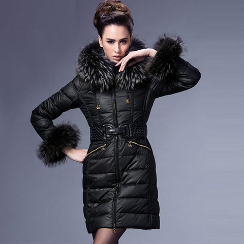 Belted fur collar duck down coats